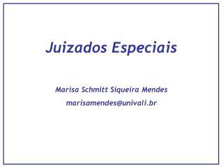 Juizados Especiais Marisa Schmitt Siqueira Mendes marisamendes@univali.br
