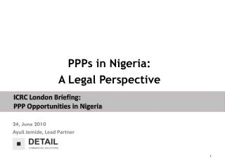 PPPs in Nigeria:  A Legal Perspective