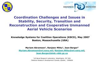 Knowledge Systems for Coalition Operations (KSCO), May 2007 Boston, Massachusetts (USA)