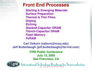 Front End Processes
