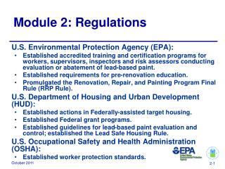 Module 2: Regulations
