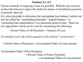 Present Value of All Payments = Amount of Loan