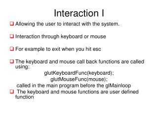 Interaction I