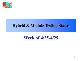 Hybrid & Module Testing Status