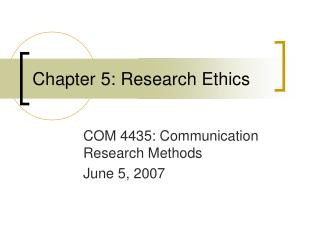 Chapter 5: Research Ethics