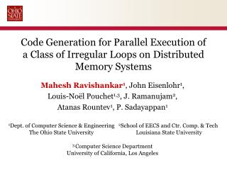Code Generation for Parallel Execution of a Class of Irregular Loops on Distributed Memory Systems