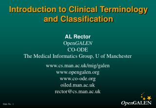 Introduction to Clinical Terminology and Classification