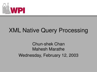 XML Native Query Processing