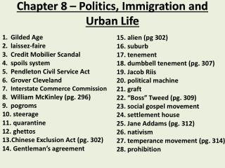 Chapter 8 – Politics, Immigration and Urban Life