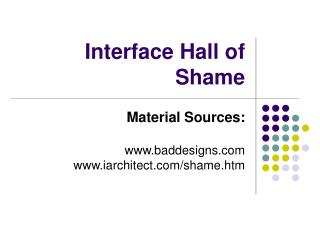 Interface Hall of Shame