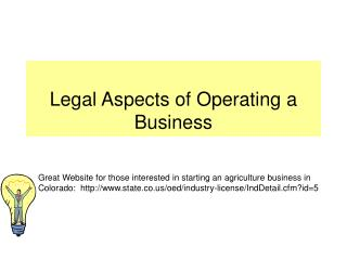 Legal Aspects of Operating a Business