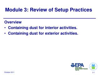 Module 3: Review of Setup Practices