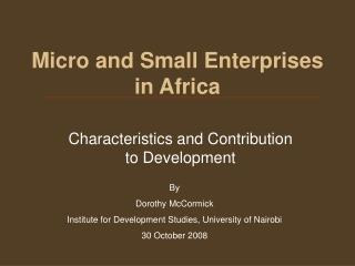 Micro and Small Enterprises in Africa