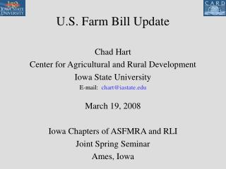 U.S. Farm Bill Update