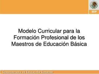 Modelo Curricular para la Formación Profesional de los Maestros de Educación Básica
