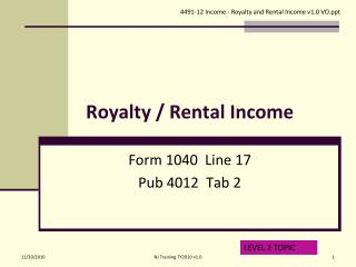 Royalty / Rental Income