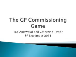 The GP Commissioning Game