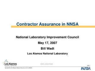 Contractor Assurance in NNSA
