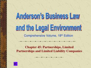 Chapter 45: Partnerships, Limited Partnerships and Limited Liability Companies