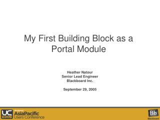 My First Building Block as a Portal Module