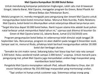 Mal Ciputra Kumpulkan 50.000 Botol Bekas