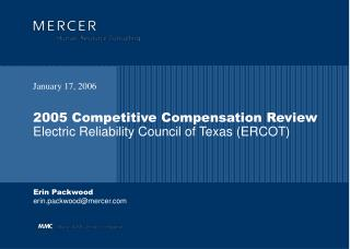 2005 Competitive Compensation Review Electric Reliability Council of Texas (ERCOT)