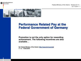 Performance Related Pay at the Federal Government of Germany