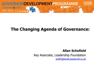 The Changing Agenda  of  Governance :