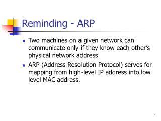 Reminding - ARP