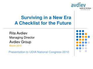 Surviving in a New Era A Checklist for the Future