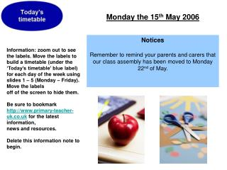 Monday the 15 th  May 2006