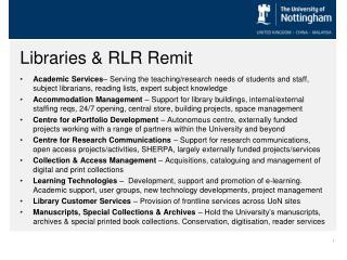 Libraries & RLR Remit