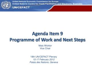 Agenda Item 9 Programme of Work and Next Steps