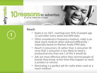 Reach Radio is on 24/7, reaching over 92% of people age 12 and older every week and 68% daily