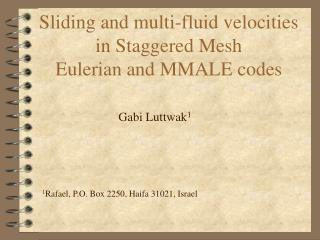 Sliding and multi-fluid velocities  in Staggered Mesh  Eulerian and MMALE codes