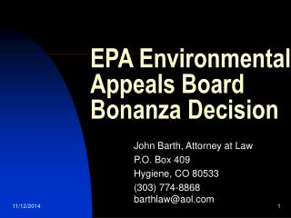 EPA Environmental Appeals Board Bonanza Decision