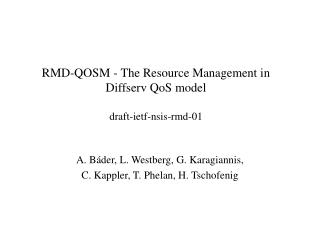 RMD-QOSM - The Resource Management in Diffserv QoS model draft-ietf-nsis-rmd-01