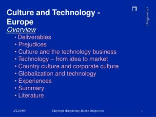 Culture and Technology - Europe Overview