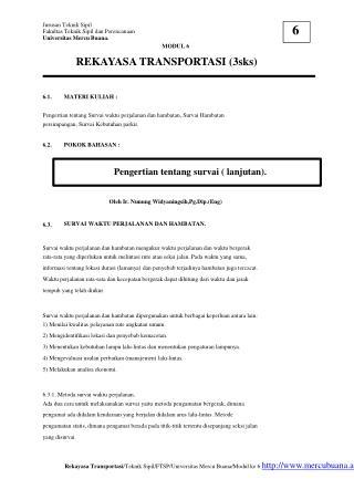 Jurusan Teknik Sipil Fakultas Teknik Sipil dan Perencanaan Universitas Mercu Buana. MODUL 6