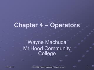 Chapter 4 – Operators