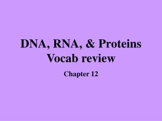 DNA, RNA, & Proteins Vocab review