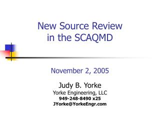 New Source Review in the SCAQMD