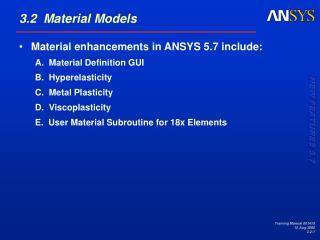 3.2  Material Models