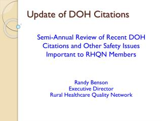 Update of DOH Citations