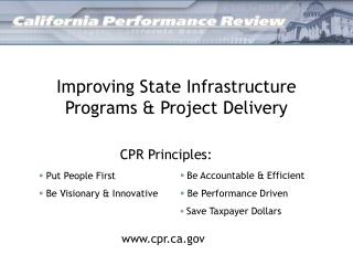 Improving State Infrastructure Programs & Project Delivery