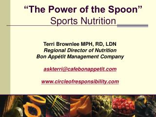 """The Power of the Spoon"" Sports Nutrition"