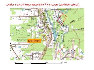 Location map with superimposed top Frio structure depth feet subsea
