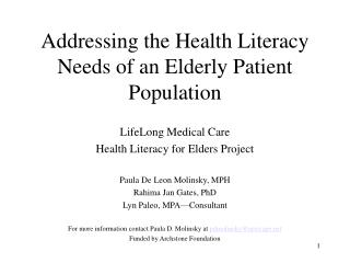 Addressing the Health Literacy Needs of an Elderly Patient Population