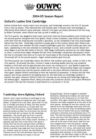 2004-05 Season Report Oxford's Ladies Sink Cambridge
