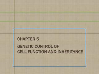 Chapter 5 Genetic Control of  Cell Function and Inheritance